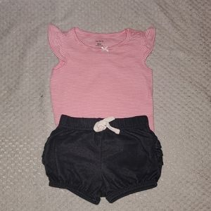 Pink stripes short outfit